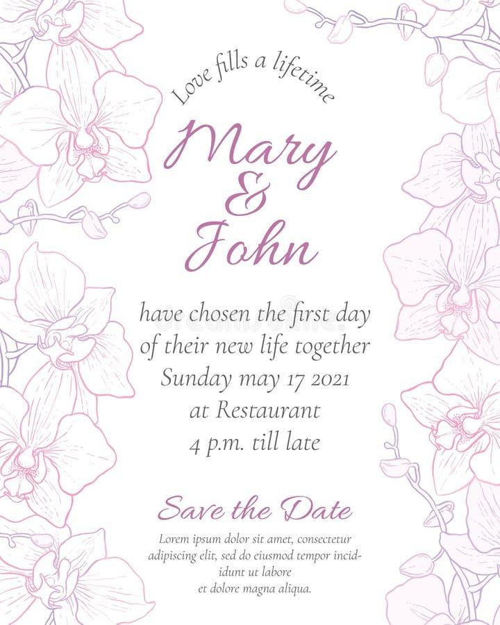 Διανυσματική γαμήλια πρόσκληση ελεύθερη απεικόνιση δικαιώματος