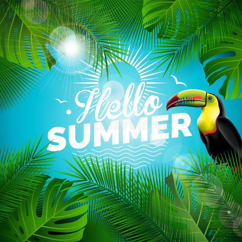 Διανυσματική γειά σου τυπογραφική απεικόνιση καλοκαιρινών διακοπών με το toucan πουλί και τροπικές εγκαταστάσεις στο μπλε υπόβαθρ διανυσματική απεικόνιση