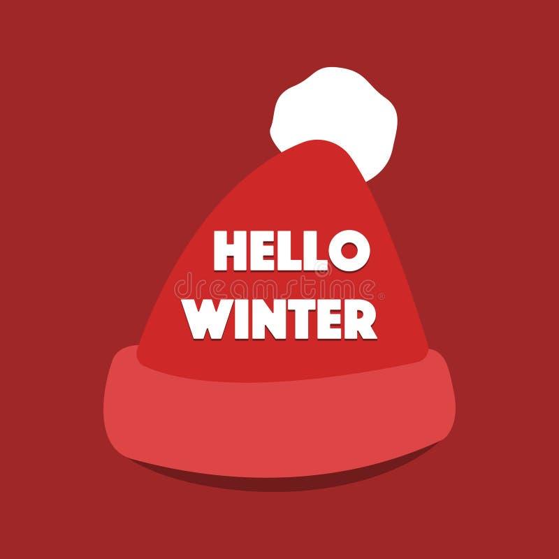 Διανυσματική γειά σου χειμερινή τυπογραφική αφίσα με το καπέλο Άγιου Βασίλη Συρμένη χέρι φράση Εγγραφή στο κόκκινο υπόβαθρο ελεύθερη απεικόνιση δικαιώματος