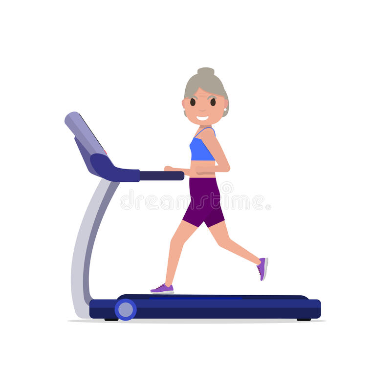 Διανυσματική γιαγιά κινούμενων σχεδίων που τρέχει treadmill απεικόνιση αποθεμάτων