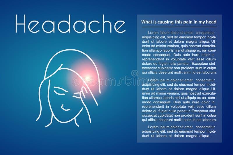 Διανυσματική γραμμική απεικόνιση πονοκέφαλου της νέας ασιατικής γυναίκας απεικόνιση αποθεμάτων