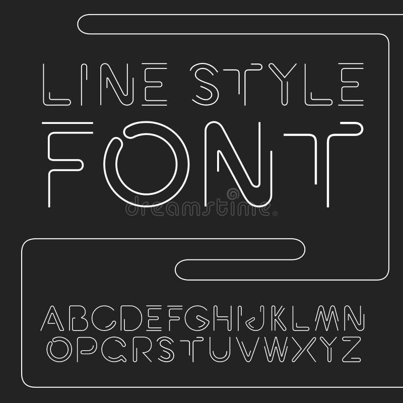 Διανυσματική γραμμική πηγή - απλό και minimalistic αλφάβητο στο ύφος γραμμών ελεύθερη απεικόνιση δικαιώματος