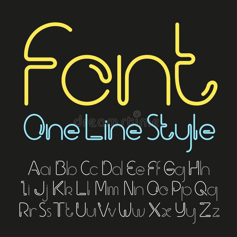 Διανυσματική γραμμική πηγή - απλό και minimalistic αλφάβητο στο ύφος γραμμών διανυσματική απεικόνιση