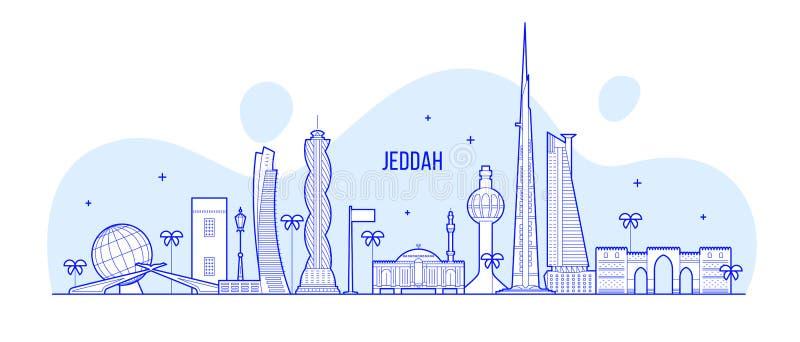 Διανυσματική γραμμική τέχνη πόλεων της Σαουδικής Αραβίας οριζόντων Jeddah ελεύθερη απεικόνιση δικαιώματος