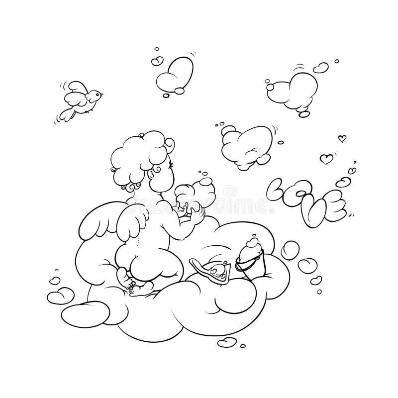 Διανυσματική γραπτή απεικόνιση σκίτσων μιας χαριτωμένης μικρής ερωτοδουλειάς αγγέλου στις μορφές ουρανού των καρδιών σύννεφων και διανυσματική απεικόνιση