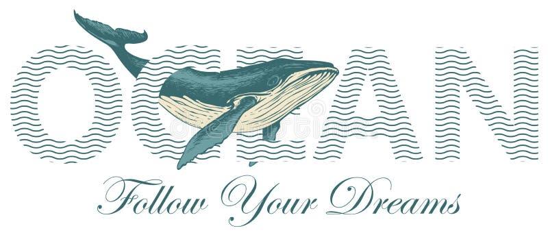 Διανυσματική γραφή Ωκεανός με μια μεγάλη φάλαινα σχεδιασμένη με το χέρι διανυσματική απεικόνιση