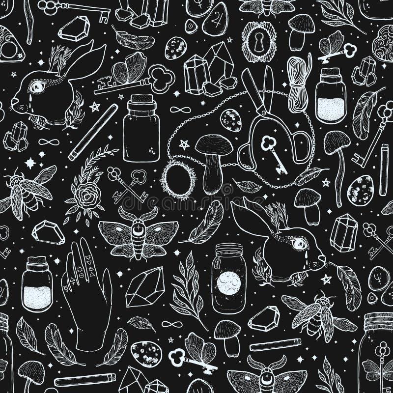 Διανυσματική γραφική άνευ ραφής απεικόνιση σχεδίων σκίτσων με τα απόκρυφα και απόκρυφα συρμένα χέρι σύμβολα Μαγική και εσωτερική  ελεύθερη απεικόνιση δικαιώματος
