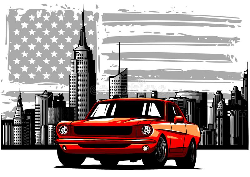 Διανυσματική γραφική απεικόνιση σχεδίου ενός αμερικανικού αυτοκινήτου μυών ελεύθερη απεικόνιση δικαιώματος