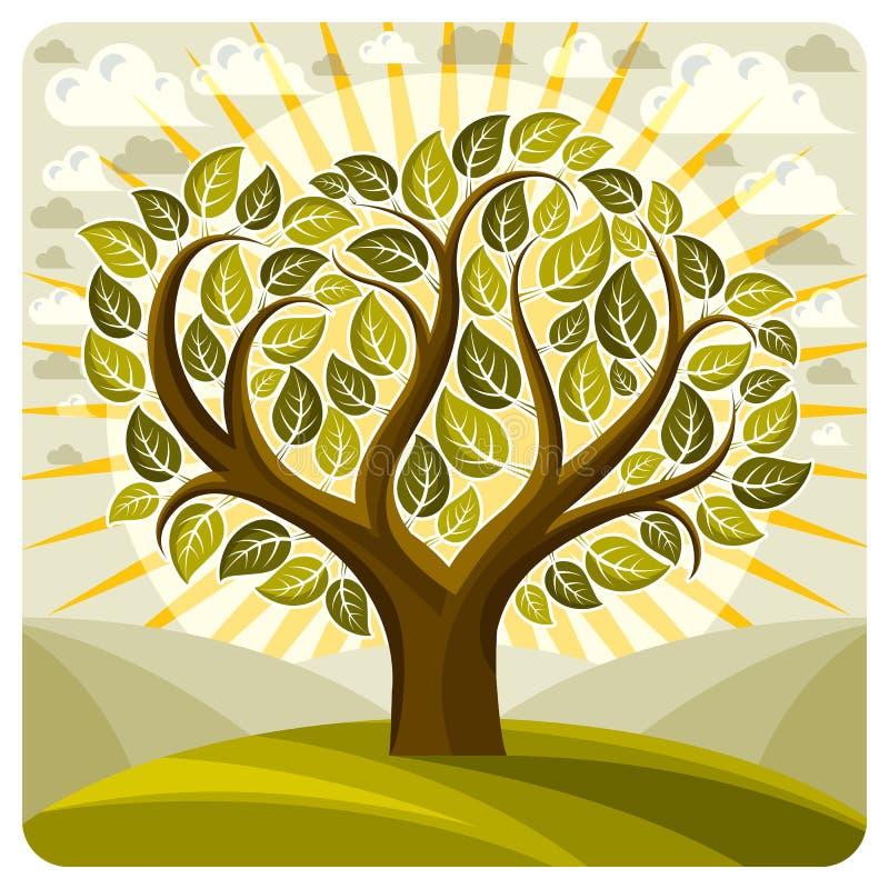 Διανυσματική γραφική απεικόνιση τέχνης της δημιουργικής ανάπτυξης δέντρων στο wond ελεύθερη απεικόνιση δικαιώματος