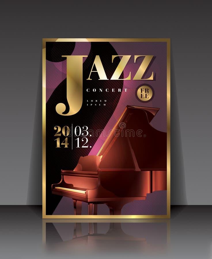 Διανυσματική γραφική αφίσα συναυλίας τζαζ απεικόνισης με το πιάνο στο καφετί χρώμα ελεύθερη απεικόνιση δικαιώματος