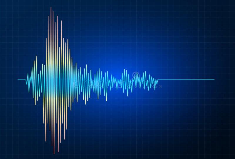 Διανυσματική γραφική παράσταση κυμάτων συχνότητας σεισμού, σεισμική δραστηριότητα απεικόνιση αποθεμάτων