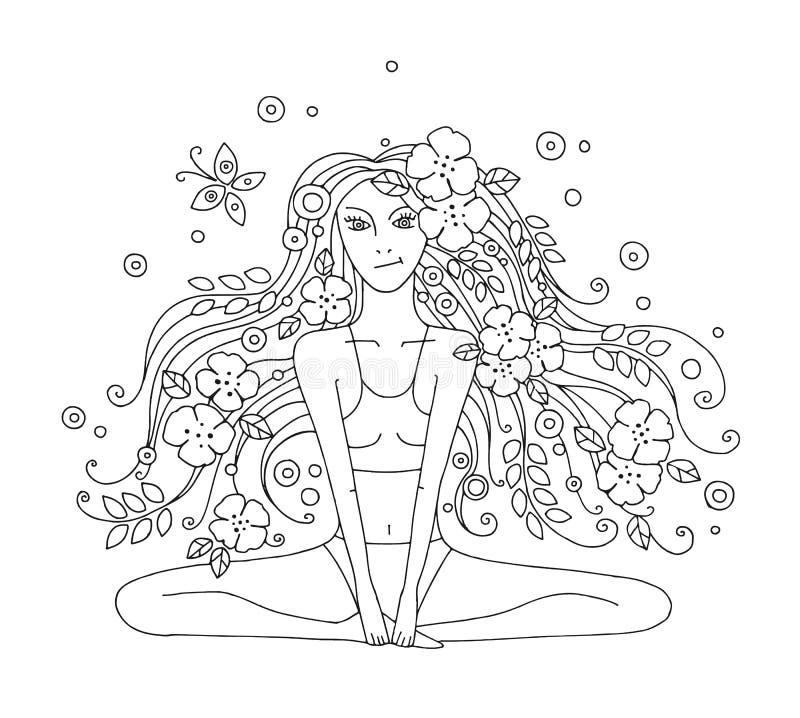Διανυσματική γραφική συρμένη χέρι απεικόνιση του νέου όμορφου κοριτσιού με μακρυμάλλη με τα λουλούδια, φύλλα, πεταλούδα Γυναίκα π ελεύθερη απεικόνιση δικαιώματος