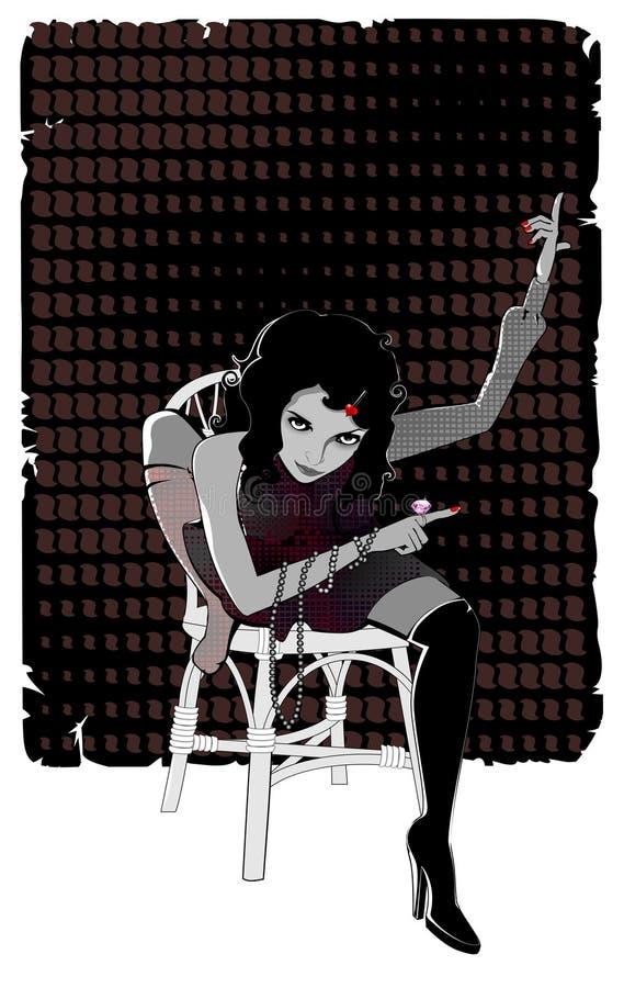 διανυσματική γυναίκα μπλ απεικόνιση αποθεμάτων