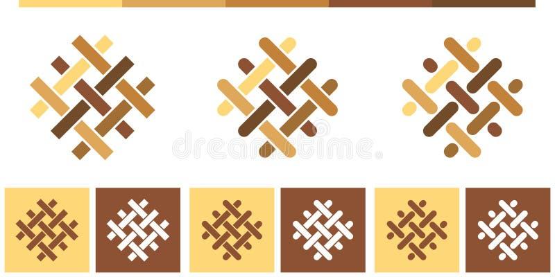 Διανυσματική δέσμη λογότυπων, εικονιδίων ή σημαδιών που τίθεται με το δάπεδο, παρκέ, φύλλο πλαστικού, κεραμίδια, ξυλουργική, στοι ελεύθερη απεικόνιση δικαιώματος
