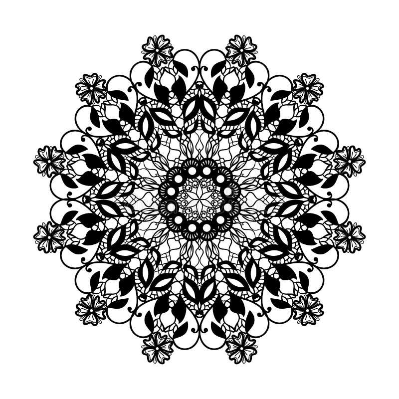 Διανυσματική δαντέλλα γύρω από το σχέδιο Mandala με τα διακοσμητικά λουλούδια Διακοσμητικό στοιχείο για το σχέδιο και τη μόδα ελεύθερη απεικόνιση δικαιώματος
