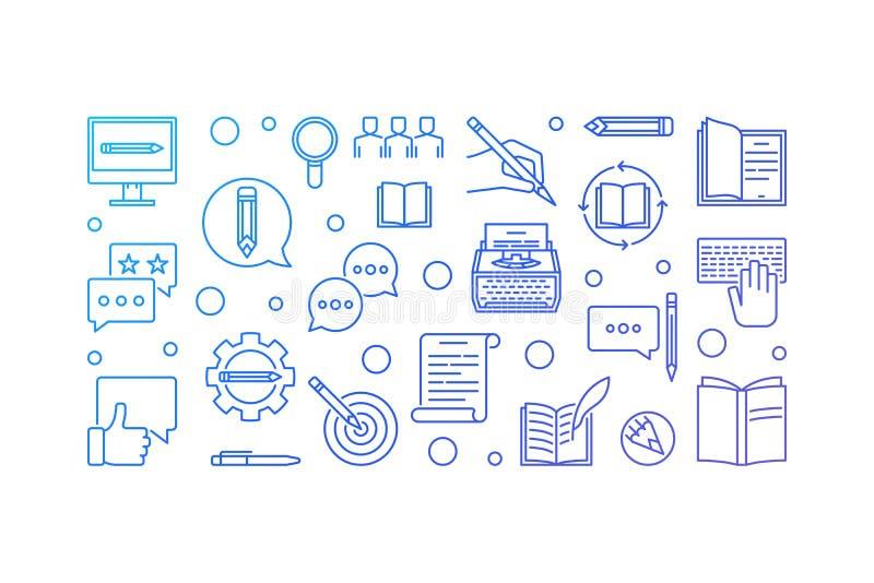 Διανυσματική δημιουργική μπλε οριζόντια απεικόνιση Copywriter ελεύθερη απεικόνιση δικαιώματος