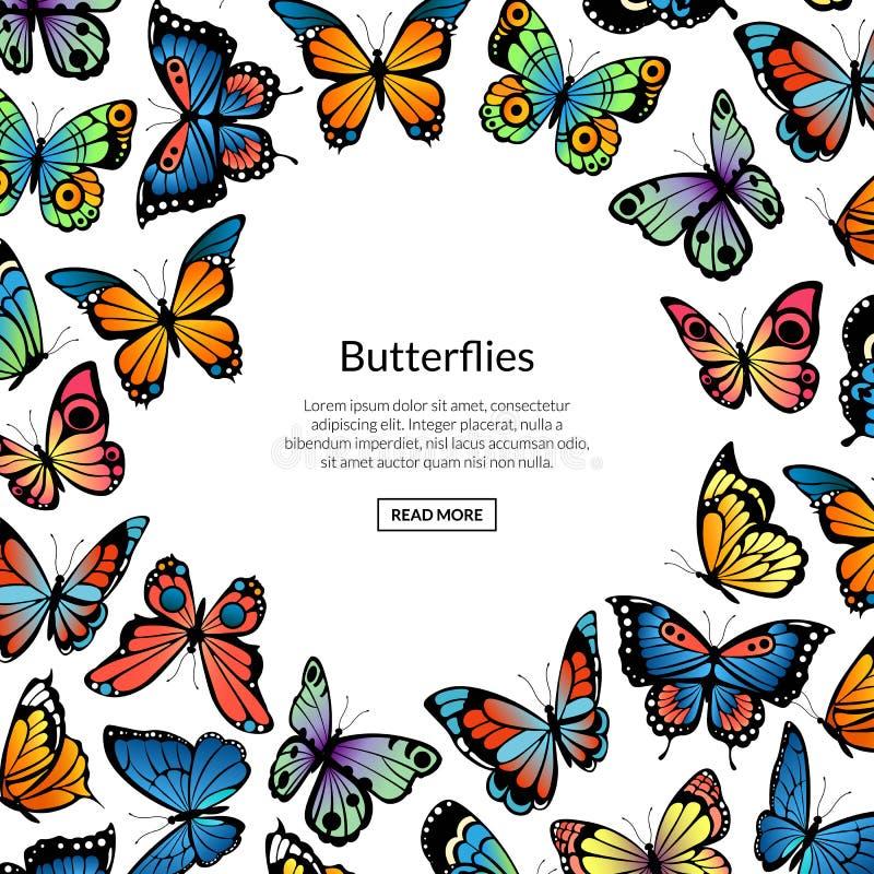 Διανυσματική διακοσμητική απεικόνιση, έμβλημα και αφίσα υποβάθρου πεταλούδων ελεύθερη απεικόνιση δικαιώματος