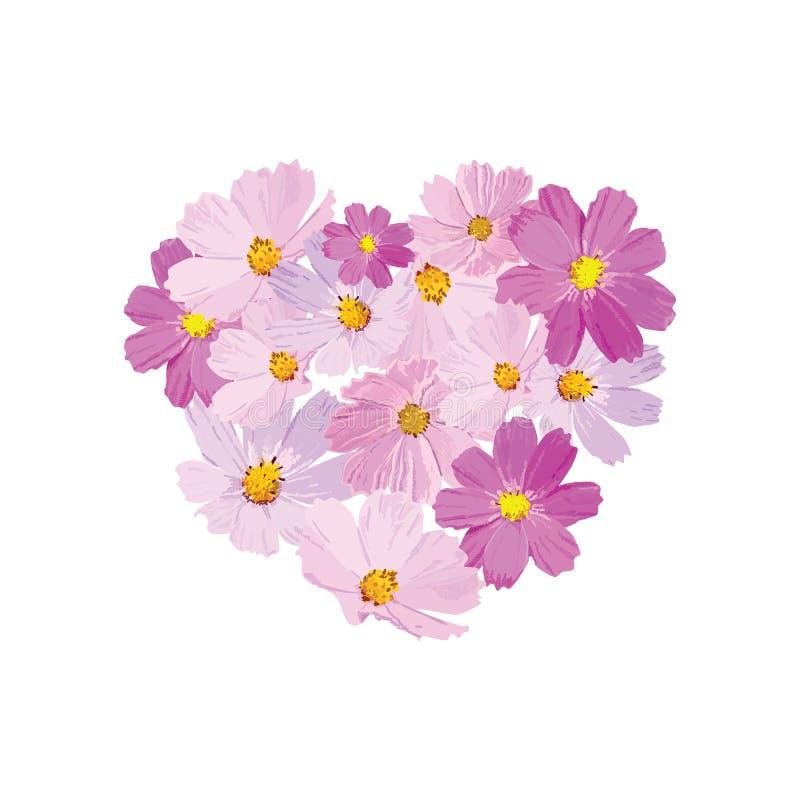 Διανυσματική διακοσμητική τυπωμένη ύλη στη μορφή καρδιών Φυσική διακόσμηση με τα λουλούδια cosmea Floral σχέδιο διανυσματική απεικόνιση