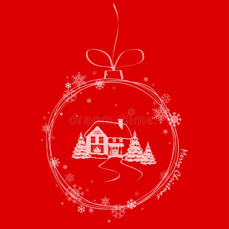 Διανυσματική διακόσμηση Χριστουγέννων απεικόνισης με το χειμερινό σπίτι ελεύθερη απεικόνιση δικαιώματος