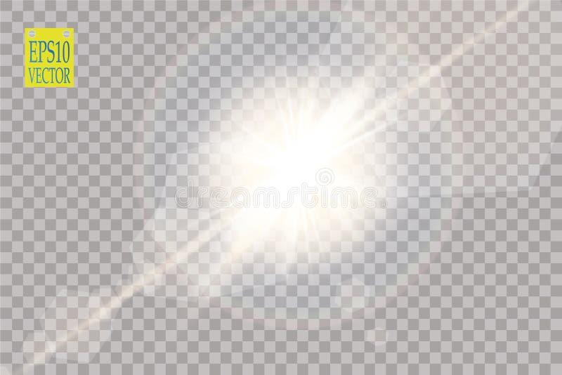 Διανυσματική διαφανής ελαφριά επίδραση φλογών φακών φωτός του ήλιου ειδική Λάμψη ήλιων με τις ακτίνες και το επίκεντρο