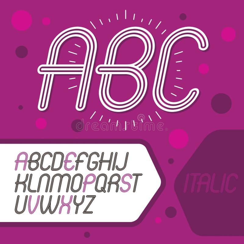 Διανυσματική δροσερή κύρια συλλογή επιστολών αλφάβητου Αναδρομικό κυρτό ro διανυσματική απεικόνιση