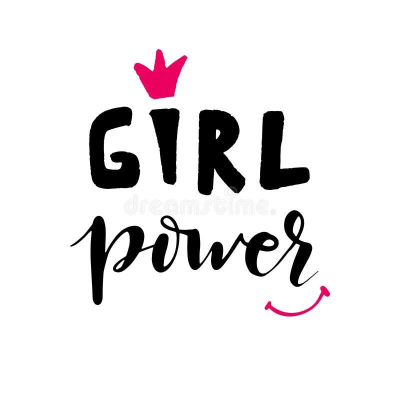 Διανυσματική δύναμη κοριτσιών καλλιγραφίας απεικόνιση αποθεμάτων