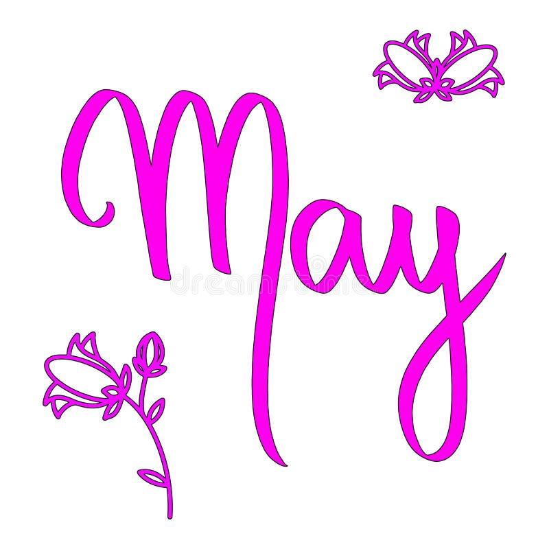 Διανυσματική εγγραφή Μαΐου λέξης με τα λουλούδια Ρόδινος μήνας γυναικών Ημερολογιακή κάρτα ύφους άνοιξης εποχής Απεικόνιση στο άσ απεικόνιση αποθεμάτων