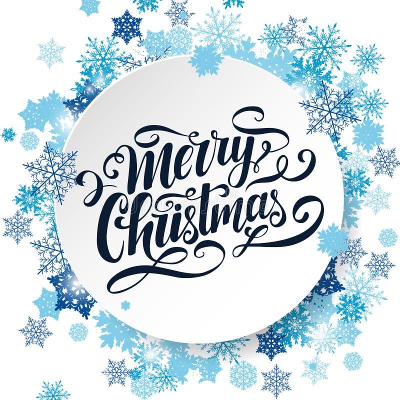 Διανυσματική εγγραφή Χαρούμενα Χριστούγεννας Χειρόγραφη ευχετήρια κάρτα Αφίσα τυπογραφίας Handlettering Άσπρο υπόβαθρο με μπλε sn ελεύθερη απεικόνιση δικαιώματος