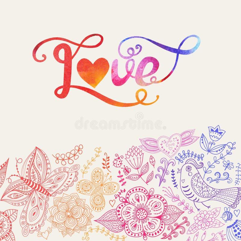 Διανυσματική εγγραφή watercolor αγάπης Αγάπη επιστολών Watercolor te απεικόνιση αποθεμάτων