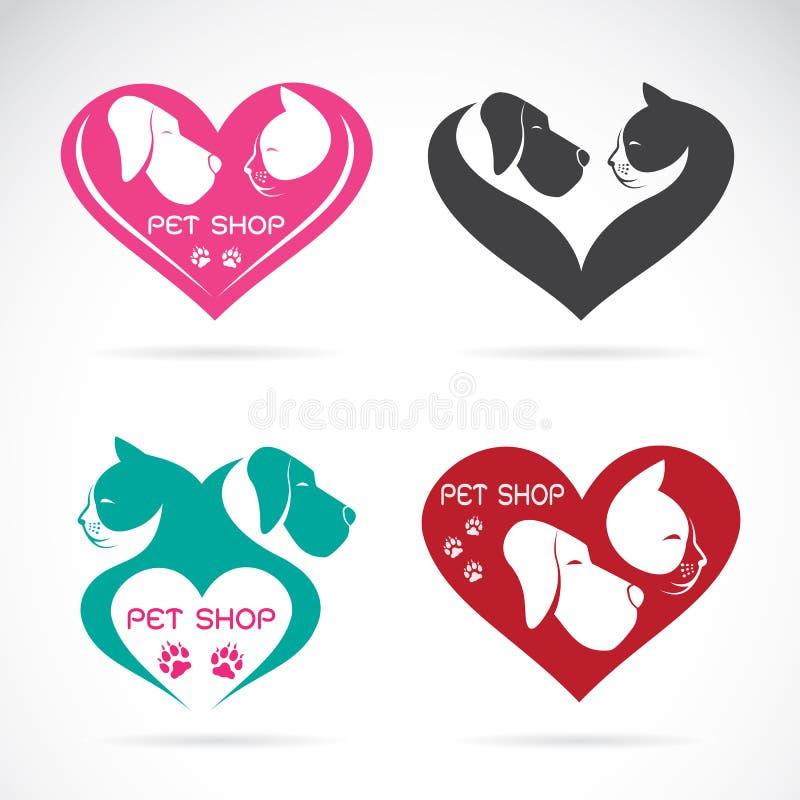 Διανυσματική εικόνα ενός σκυλιού και μιας γάτας με την καρδιά διανυσματική απεικόνιση