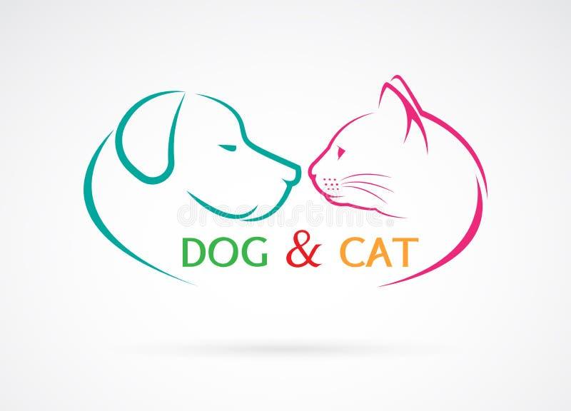 Διανυσματική εικόνα ενός σκυλιού και μιας γάτας ελεύθερη απεικόνιση δικαιώματος