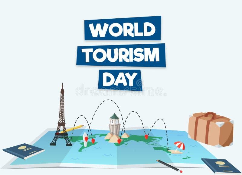 Διανυσματική εικόνα ευχετήριων καρτών ημέρας παγκόσμιου τουρισμού διανυσματική απεικόνιση