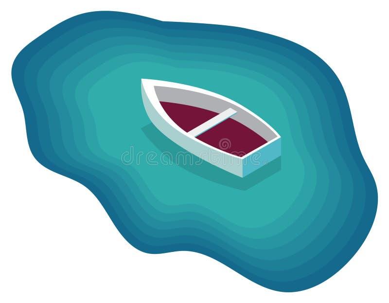 Διανυσματική εικόνα μιας βάρκας στη θάλασσα απεικόνιση αποθεμάτων