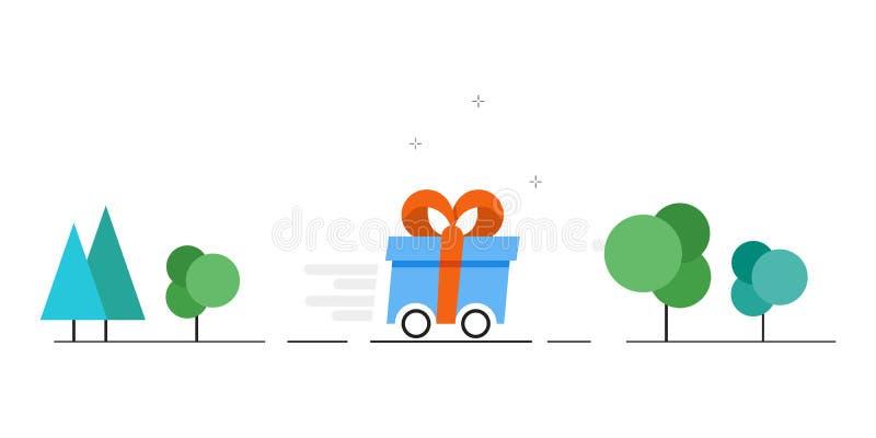 Διανυσματική εικόνα παράδοσης δώρων Γρήγορη παράδοση των δώρων επίσης corel σύρετε το διάνυσμα απεικόνισης διανυσματική απεικόνιση