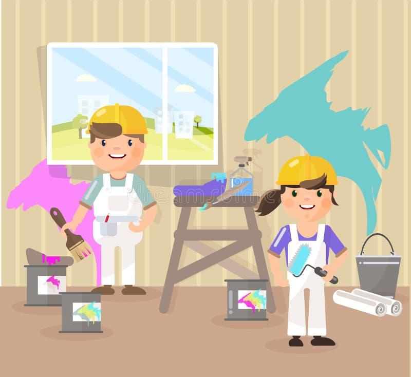 Διανυσματική εικόνα στο ύφος του επιπέδου, κινούμενα σχέδια Οι ζωγράφοι χρωματίζουν το δωμάτιο, παίρνουν το χρώμα μπλε, ροζ διανυσματική απεικόνιση