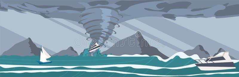 Διανυσματική εικόνα τα πιασμένα θύελλα γιοτ ο ωκεανός απεικόνιση αποθεμάτων