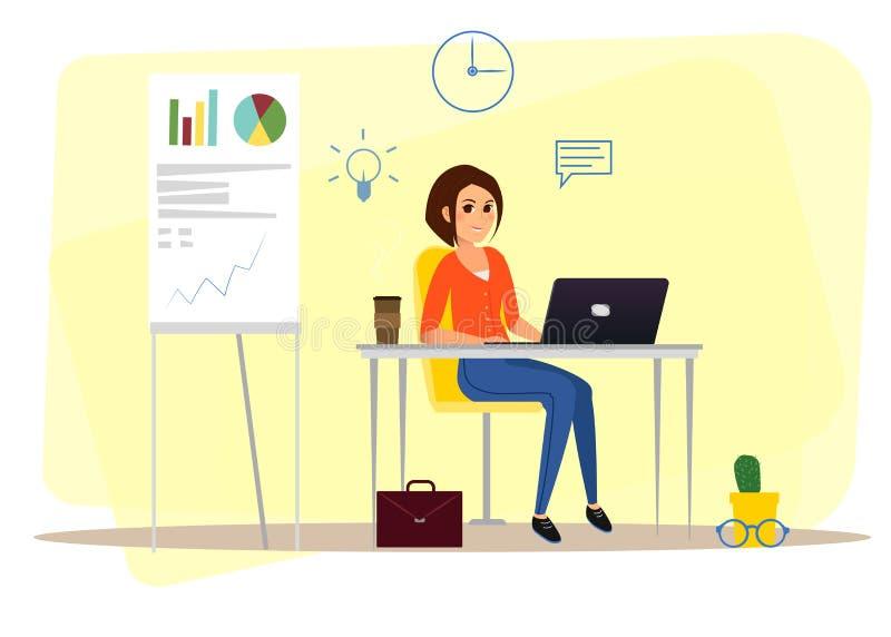 Διανυσματική εικόνα της εργασίας στη γυναίκα γραφείων στοκ εικόνα με δικαίωμα ελεύθερης χρήσης