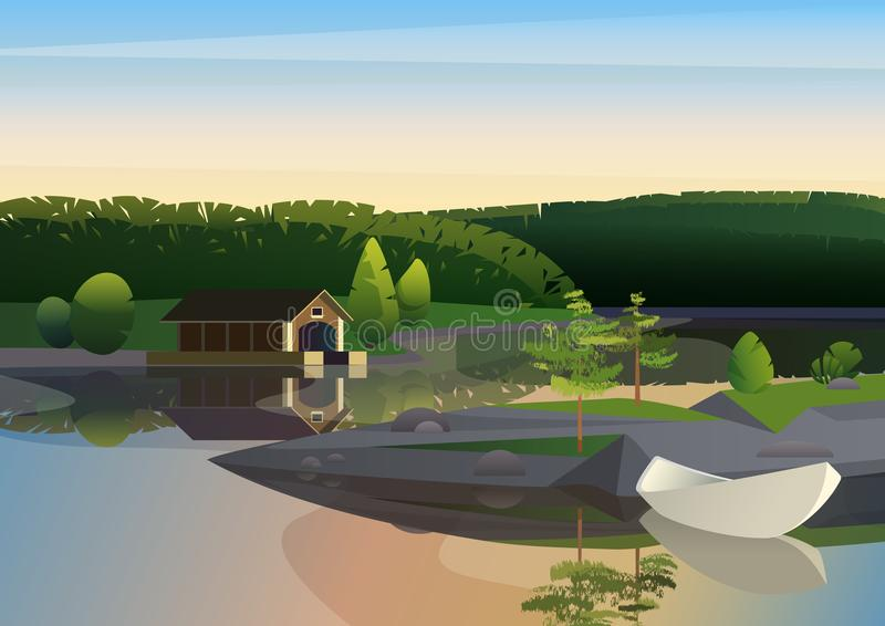 Διανυσματική εικόνα του ήρεμου τοπίου με τη μακρινή αποβάθρα σπιτιών και της πλέοντας βάρκας στην ακτή της λίμνης στην πράσινη φύ διανυσματική απεικόνιση
