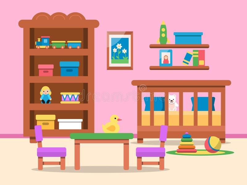 Διανυσματική εικόνα του εσωτερικού δωματίων παιδιών Κρεβάτι, πίνακας και διάφορα παιχνίδια διανυσματική απεικόνιση
