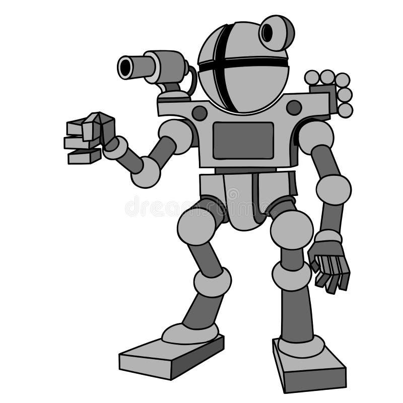 Διανυσματική εικόνα του ρομπότ με δύο όπλα και δύο πόδια Μέλλον, τεχνολογία, σύγχρονη διανυσματική απεικόνιση