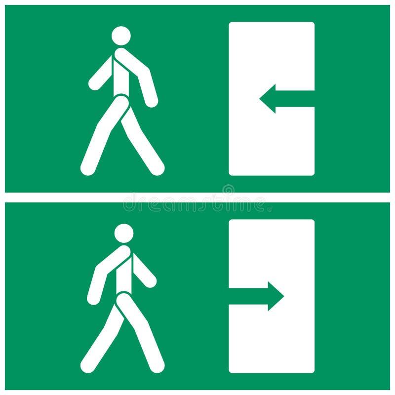 Διανυσματική εικόνα του σημαδιού εξόδων πυρκαγιάς Το πρόσωπο περπατά προς την έξοδο και τους περιπάτους προσώπων από την πόρτα επ διανυσματική απεικόνιση