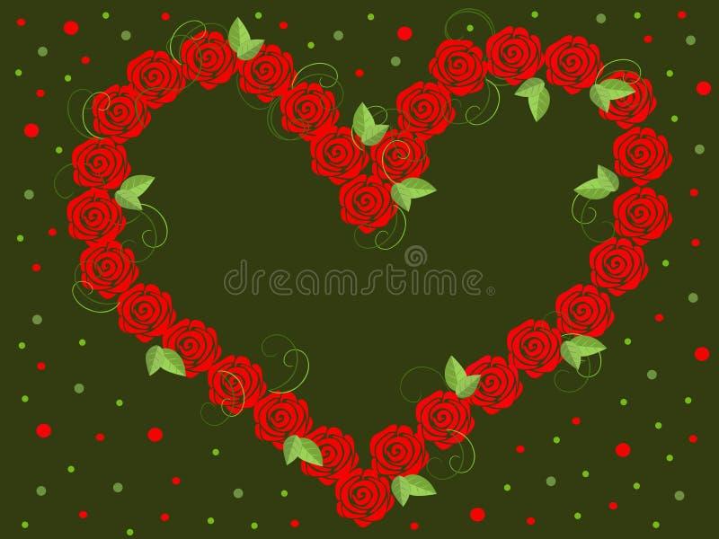 Διανυσματική εικόνα των κόκκινων τριαντάφυλλων με μορφή της καρδιάς διανυσματική απεικόνιση