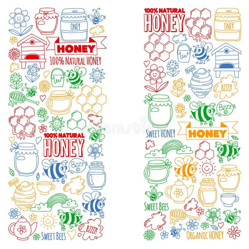 Διανυσματική εικόνα των μελισσών, οργανικό αγροτικό μέλι Σχέδιο με τα θερινά λουλούδια τρόφιμα υγιή διανυσματική απεικόνιση