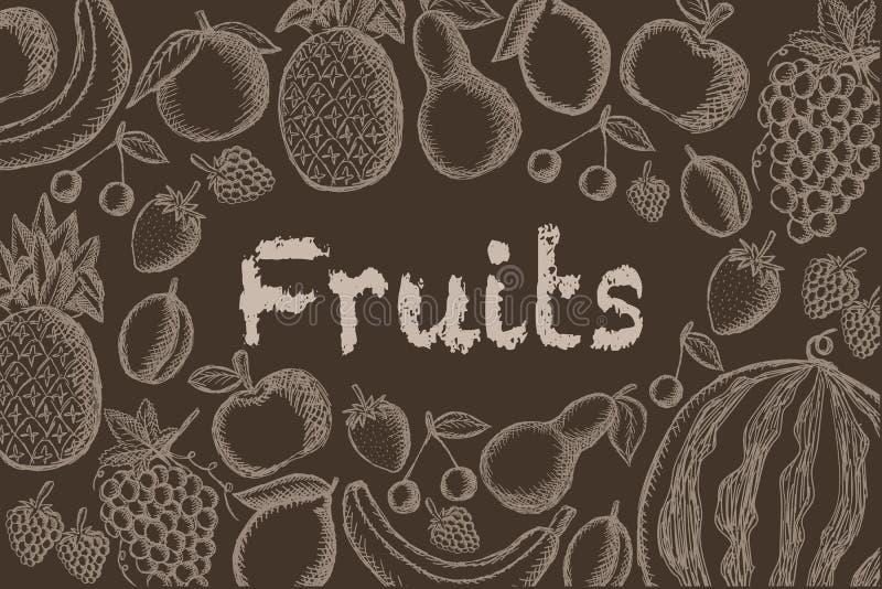 Διανυσματική εικόνα των χρωματισμένων φρούτων σε ένα καφετί υπόβαθρο με μια επιγραφή στο κέντρο Γραφική εκλεκτής ποιότητας απεικό απεικόνιση αποθεμάτων