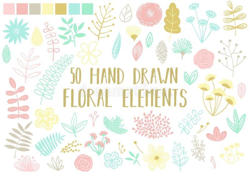 Διανυσματική εικόνα των hand-drawn floral στοιχείων σε ένα ελαφρύ υπόβαθρο Απεικόνιση κινούμενων σχεδίων ενός συνόλου απομονωμένω απεικόνιση αποθεμάτων