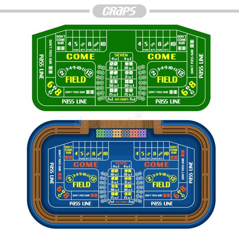 Διανυσματική εικόνα Craps του πίνακα απεικόνιση αποθεμάτων
