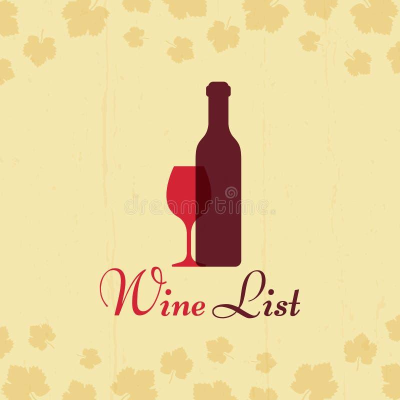 Διανυσματική εκλεκτής ποιότητας αφίσα καταλόγων κρασιού με τα φύλλα σταφυλιών διανυσματική απεικόνιση