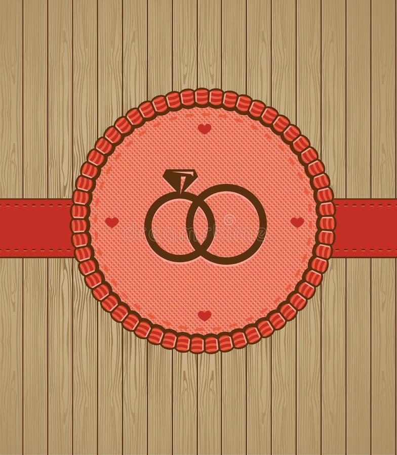 Διανυσματική εκλεκτής ποιότητας ευχετήρια κάρτα με τα γαμήλια δαχτυλίδια απεικόνιση αποθεμάτων
