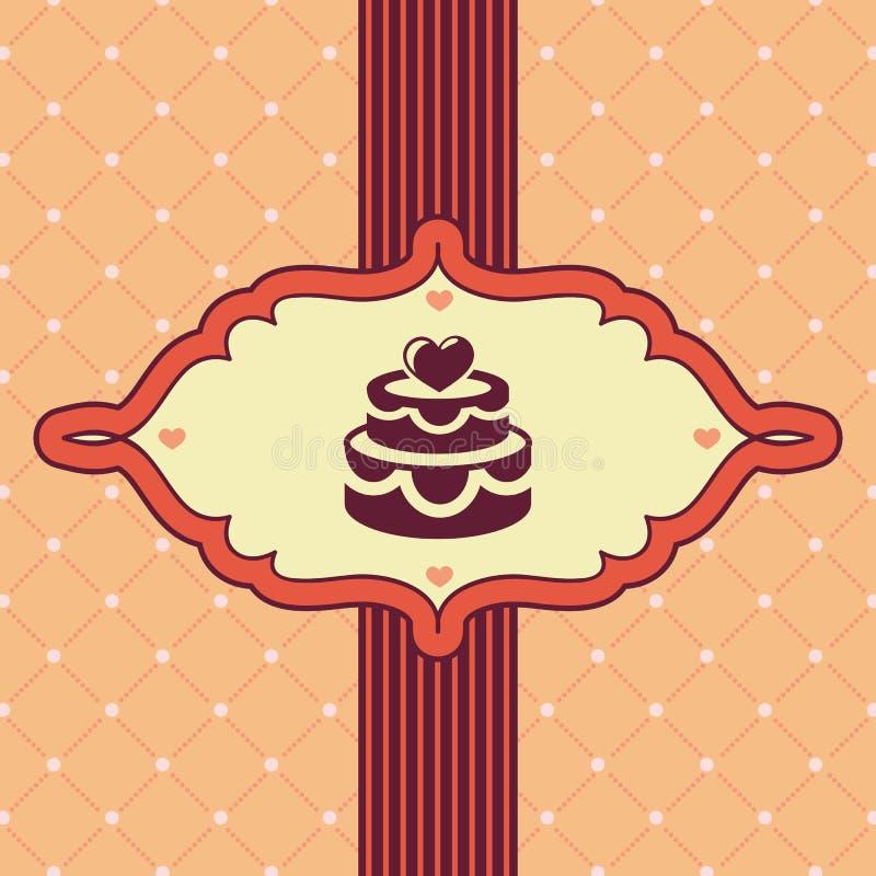 Διανυσματική εκλεκτής ποιότητας ευχετήρια κάρτα με το γαμήλιο κέικ ελεύθερη απεικόνιση δικαιώματος