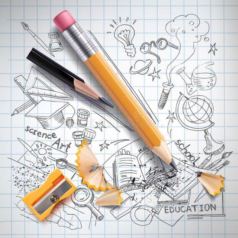 Διανυσματική εκπαίδευση, έννοια επιστήμης, μολύβι, σκίτσο απεικόνιση αποθεμάτων